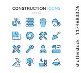 construction icons. vector line ... | Shutterstock .eps vector #1174683376