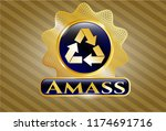 gold badge with recycle icon... | Shutterstock .eps vector #1174691716