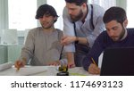 caucasian coworking architects... | Shutterstock . vector #1174693123