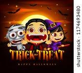 halloween trick or treat... | Shutterstock .eps vector #1174693480
