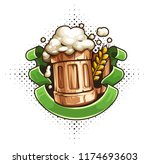 wooden beer mug with beer and... | Shutterstock .eps vector #1174693603