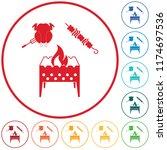 brazier kebab and chicken icon. ...   Shutterstock .eps vector #1174697536