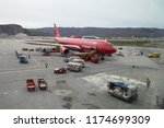 Small photo of Kangerlussuaq, Greenland - June 30, 2018: An Air Greenland Airbus A330-200 parked at the international airport