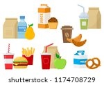 set of lunch food icons. vector ... | Shutterstock .eps vector #1174708729