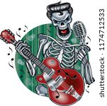 rockabilly skeleton singing and ... | Shutterstock .eps vector #1174712533