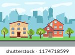 city with two story and three... | Shutterstock . vector #1174718599