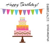 greeting card with sweet cake... | Shutterstock . vector #1174718893