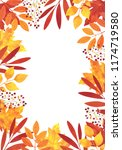 watercolor autumn card template ... | Shutterstock . vector #1174719580