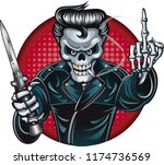 rockabilly skeleton with... | Shutterstock .eps vector #1174736569