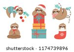 Stock vector cute sloths funny christmas illustrations with santa claus costumes hat and scarfs greeting 1174739896