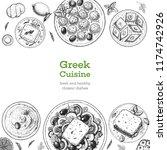 greek cuisine top view. set of...   Shutterstock .eps vector #1174742926