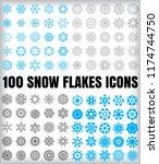 set of 100 simple snowflake... | Shutterstock .eps vector #1174744750