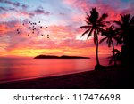 sunset with birds at rebak... | Shutterstock . vector #117476698