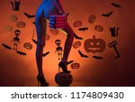 holiday halloween with funny... | Shutterstock . vector #1174809430