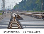 reconstruction of a new railway ... | Shutterstock . vector #1174816396