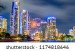 gold coast fireworks  | Shutterstock . vector #1174818646