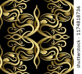 embroidery gold paisley vector... | Shutterstock .eps vector #1174818736
