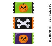 colorful halloween candy  ... | Shutterstock .eps vector #1174822660