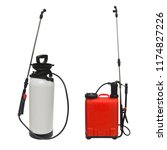 Collection pesticide, herbicide sprayer for working in the garden and vegetable garden isolated on a white background. Manual, for the destruction of pests and insects - stock photo