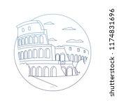 degraded line medieval coliseum ... | Shutterstock .eps vector #1174831696