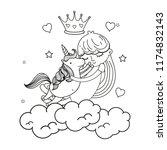 line girl hugging unicorn in... | Shutterstock .eps vector #1174832143