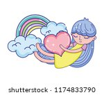 sleeping girl with heart and... | Shutterstock .eps vector #1174833790