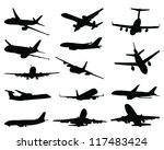 set of aircraft silhouettes 2... | Shutterstock .eps vector #117483424