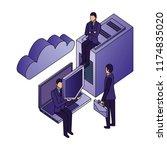businessmen with server data... | Shutterstock .eps vector #1174835020