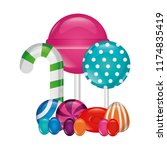 sweet candies lollipops... | Shutterstock .eps vector #1174835419