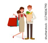 man and woman with bags. big... | Shutterstock .eps vector #1174836790