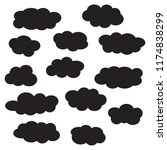cloud icon set  black isolated... | Shutterstock .eps vector #1174838299