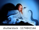 red haired little girl having... | Shutterstock . vector #1174842166