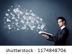 casual young man holding book... | Shutterstock . vector #1174848706