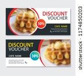 discount voucher dessert waffle ... | Shutterstock .eps vector #1174850203