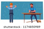 funny engineer is measures.... | Shutterstock .eps vector #1174850989