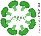 hand drawn vector broccoli... | Shutterstock .eps vector #1174851409