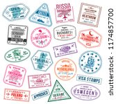 set of visa stamps for... | Shutterstock .eps vector #1174857700