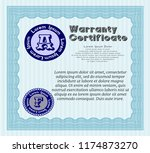 light blue retro warranty... | Shutterstock .eps vector #1174873270