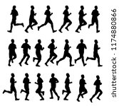 set of male runner silhouette... | Shutterstock .eps vector #1174880866