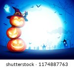 halloween pumpkin pile. stacked ... | Shutterstock .eps vector #1174887763