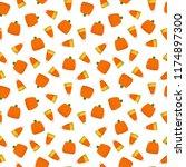 candy corn and pumpkin seamless ... | Shutterstock .eps vector #1174897300