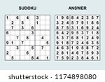 vector sudoku with answer 170.... | Shutterstock .eps vector #1174898080