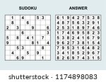 vector sudoku with answer 169.... | Shutterstock .eps vector #1174898083