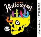 happy halloween vector.... | Shutterstock .eps vector #1174898203