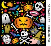 happy halloween colorful cute... | Shutterstock .eps vector #1174898380