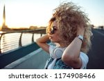 trendy girl with large...   Shutterstock . vector #1174908466