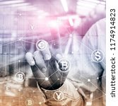 double exposure bitcoin and... | Shutterstock . vector #1174914823