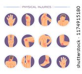 physical injuries poster with... | Shutterstock .eps vector #1174915180