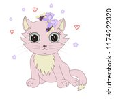 a kitten with a butterfly on...   Shutterstock .eps vector #1174922320