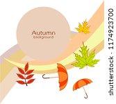 umbrella falling leaves... | Shutterstock .eps vector #1174923700